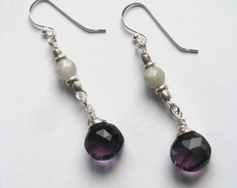 Plum Purple Quartz and Grey Gray Moonstone Earrings