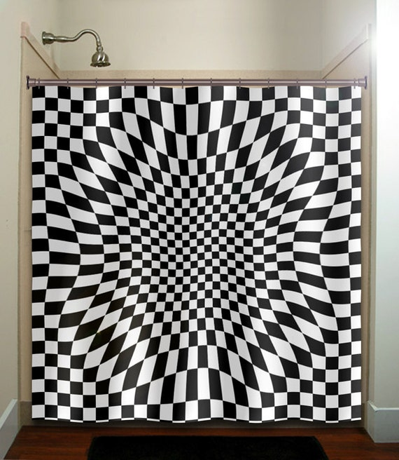 black white geometric zen checker shower curtain bathroom decor fabric ...