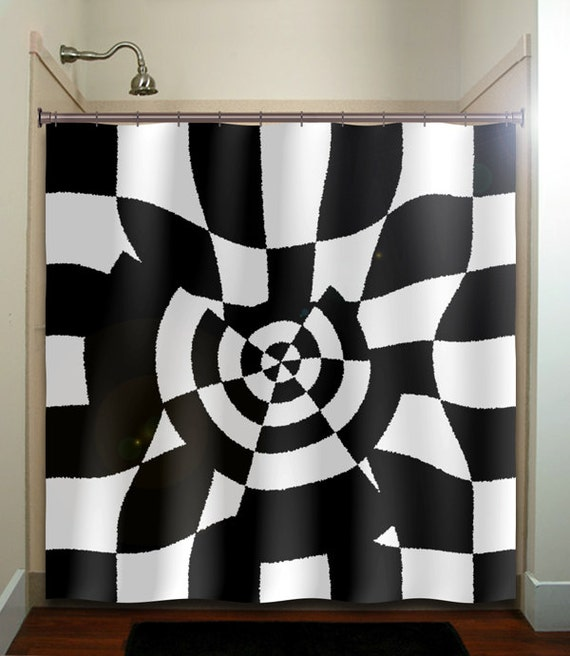 Geometric Black White Checkerboard Checker Shower Curtain