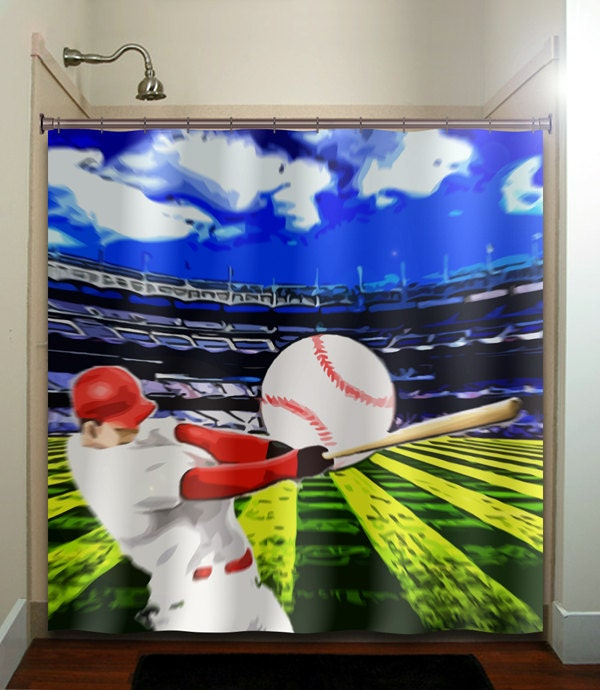 Ball hitter bat player stadium baseball shower curtain for Baseball bathroom ideas