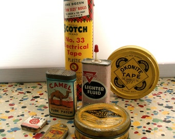 Vintage Collection of Households Repair Tins