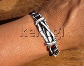 women black leather bracelet with knot spacer