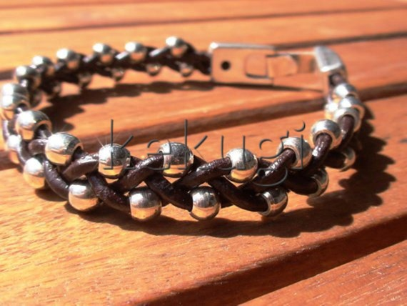 women multi strap brown hand woven leather bracelet with silver plated  beads and clasp