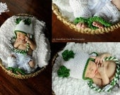 St. Patrick's Day Baby Hat and Leg Warmers- Crochet Shamrock St. Patty's Day Hat- Ear Flaps-  Girls- Photo Prop