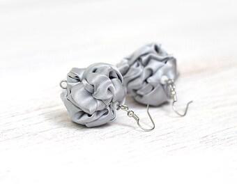 Grey fabric  Earrings