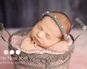 Newborn photo prop, newborn girl, newborn headband, newborn props, newborn girl prop, Mohair newborn tieback with pearls. 9 colors