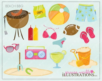 Beach BBQ Cute Digital Clipart for Card Design, Scrapbooking, and Web Design