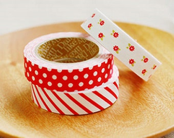 3 Set - Red Ribbon Stripe Dot Flower Adhesive Fabric Tapes (0.6in)