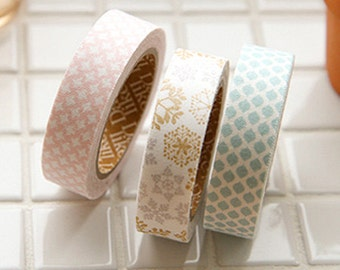 3 Set - Snowflake Blue Pink Grid Adhesive Fabric Tapes (0.6in)