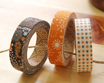 3 Set - Holy Night Orange Shine Adhesive Fabric Tapes (0.6in)