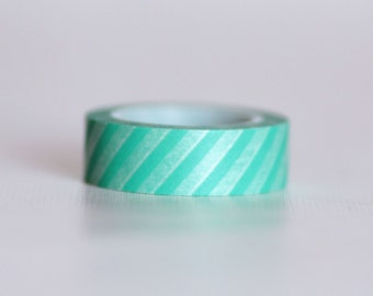 Aqua Stripes Washi Tape-  Single Roll 15 mm x 10 m