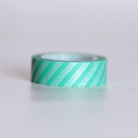 Aqua Stripes Washi Tape-  Single Roll 15 mm x 10 m
