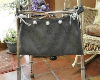 Large Tote, Walker or Wheelchair, Dark Grey Suede Cloth - Can leave on when closing walker or wheelchair