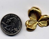 6 Small Shamrock Brass Metal Stampings