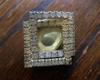 Vintage Rhinestone Brooch, Gemstones, Geometric, Deco, Citron, Costume Jewelry