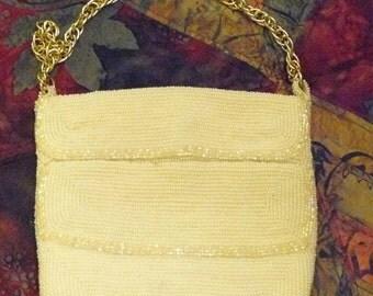 Vintage WALBORG White Beaded Evening Bag Purse