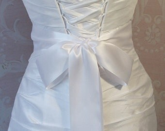 Double Face White Satin Ribbon, 2.25 Inch Wde, Ribbon Sash, Bridal Sash, Wedding Belt, 4 Yards