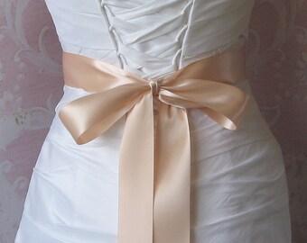 Double Face Peach Blush Satin Ribbon, 1.5 Inch Wde, Ribbon Sash, Bridal Sash, Wedding Belt, 4 Yards