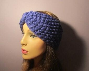 Turban Headband Earwarmers, Blue Retro Hand Knit Headband - Thick and Warm