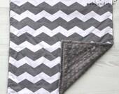 Charcoal Grey & White Lovey Minky Blanket 17x17 - Chevron - Newborn - Baby Shower - Birthday - Gift - Gender Neutral - Microfiber