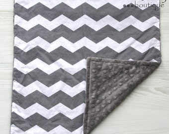 Charcoal Grey & White Lovey Minky Blanket 17x17 - Chevron - Newborn - Baby Shower - Birthday - Gift - Gender Neutral - Microfiber