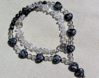 "Crystal Gemstone Necklace, Clear Quartz & Snowflake Obsidian ""Black Ice"", Obsidian Necklace, Quartz Necklace, Chakra, Black Necklace, Heart"