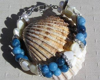 "Gemstone Crystal Bracelet, White Mother of Pearl Heart & Blue Jade ""Blue Clover"", Chakra Bracelet, Blue Bracelet, White Bracelet, Libra"