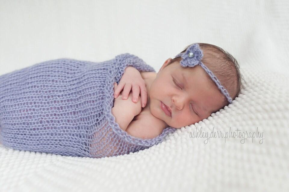 Knit Baby Blanket Newborn Mohair Wrap Set Infant by LittleBirdLucy