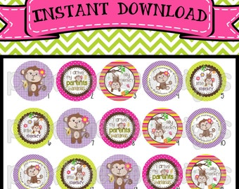"""Silly Monkey - INSTANT DOWNLOAD 1"""" Bottle Cap Images 4x6 - 363"""