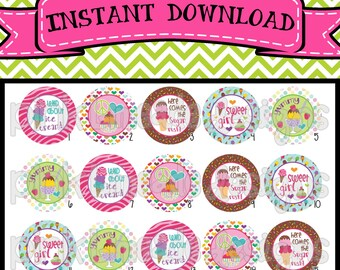 "Wild About Ice Cream - INSTANT DOWNLOAD 1"" Bottle Cap Images 4x6 - 370"
