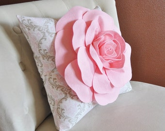 Light Pink Rose on Pink White and Taupe Damask Damask Pillow