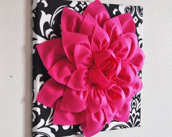 """Hot Pink Wall Hanging -Hot Pink Dahlia on Black and White Damask Print 12 x12"""" Canvas Wall Art- Baby Nursery Wall Decor-"""