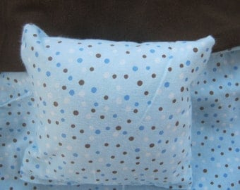 Blue polka dot doll bedding, reversible blanket and pillow for 18 inch doll like American Girl or Build a Bear teddy bear