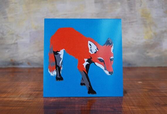 "Fine Art Card - Blank Note Card - ""Night Fox"" Design - 5.5"" Square - Comes w/ Envelope"