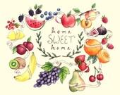 Home Sweet Home Fruit Print