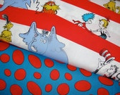The Cat in the Hat, Dr. Seuss Fabric Duo, Celebrate Seuss Collection from Robert Kaufman Fabrics, Half Yard Set, 1 Yard Total