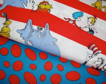 The Cat in the Hat, Dr. Seuss Fabric Duo, Celebrate Seuss Collection from Robert Kaufman Fabrics, Full Yard Set, 2 Yards Total