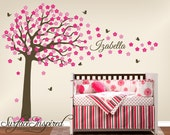 Nursery Wall Decals. Large cherry blossom tree wall decal with custom name and butterflies. Name and tree wall decal for baby nursery.