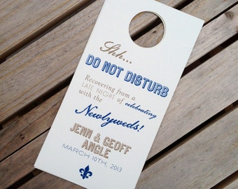 NEW - Wedding Door Hangers - Do Not Disturb - Welcome Bag Fun - Custom Colors / Fonts Available