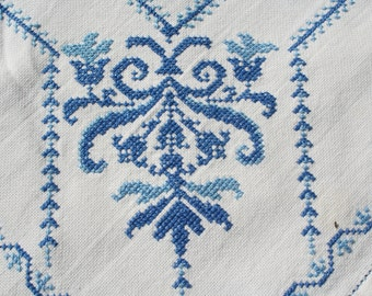 Vintage Tablecloth Blue Cross Stitch 32 x 50 inches
