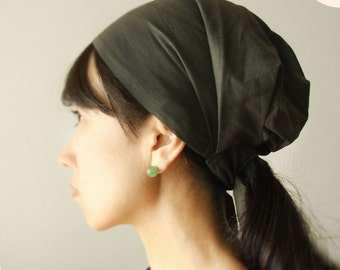 Head covering scarf, cooking head scarf, adult headwrap. cotton, chimo scarf, Beach scarf, bad hairday, Army Green, or Black