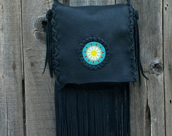 Black  handbag ,   Crossbody bag Fringed leather bag ,  Beaded hippie purse , Leather handbag , Custom , Beaded bag