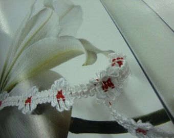 "10 yards 5/8"" width white and red cotton crochet lace trim"
