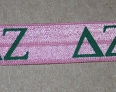 1, 4, or 10 yards Pink Green Delta Zeta sorority headband DIY Hair Ties FOE stretch foldover fold over elastic u826