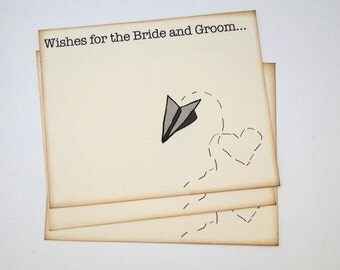 Wedding Guest Book Alternative Cards - Set of 50 - Paper Airplane and Heart