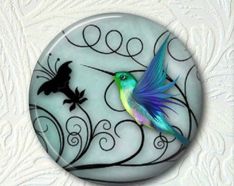 "Hummingbird Pocket Mirror, 2.25"" in Size, Black Velour Pouch, Buy 3 Mirrors Get 1 Mirror Free  413M"