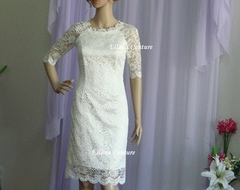 Caroline - Retro Style Lace Wedding Dress. Knee Length.