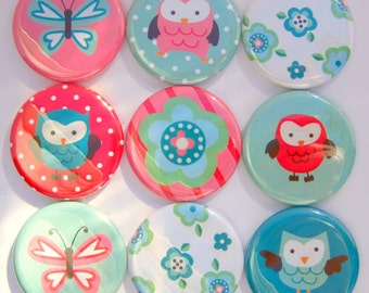 Magnets - Springtime Owls - Set of Nine 1.25 Inch Button Magnets Packaged in a Custom Box