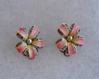 SALE Vintage  enamel earrings/clip on earrings/pink enamel marcasite/1930 1940 earrings/pansy flower earrings/collectable earrings