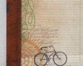 Magnetic Memo Board - Magnet and Dry Erase Board - Framed Bulletin Board - Antique Bike Design - Wall Decor - Housewares - includes magnets